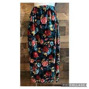 Vintage Black Crushed Velvet Floral Flower Rose Flowy Maxi Skirt Size XS
